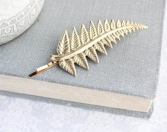 Gold Fern Hair Pin Raw Gold Brass Leaf Bridesmaid Gift Woodland Nature Hair Accessories Bobbies Fern Frond Grecian Wedding Branch Bobbies