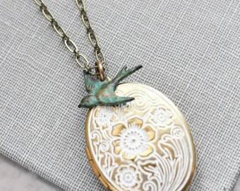 White Patina Locket Necklace Bird Charm Photo Locket Shabby Country Chic Romantic Bridesmaids Gift for Mom Keepsake Jewelry Gold Floral