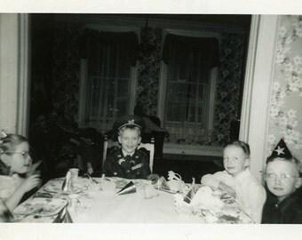 "Vintage Photo ""The Most Awkward Birthday Boys"" Happy Birthday Party Odd Weird Kid Face Look Black & White Photograph Paper Ephemera - 152"