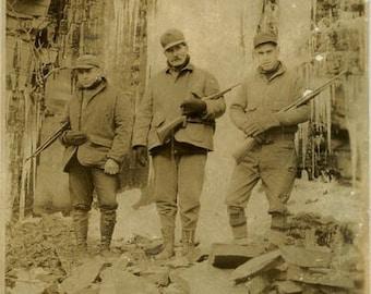 "Vintage Photo ""The Yeti Hunters"" Hunting Rifle Gun Snapshot Old Antique Photo Black & White Photograph Found Paper Ephemera Vernacular - 66"