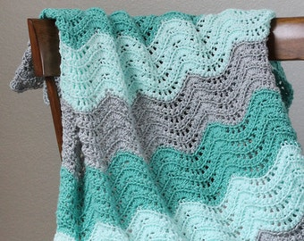 Feather and Fan Baby Blanket Crochet PDF Pattern - Instant Download