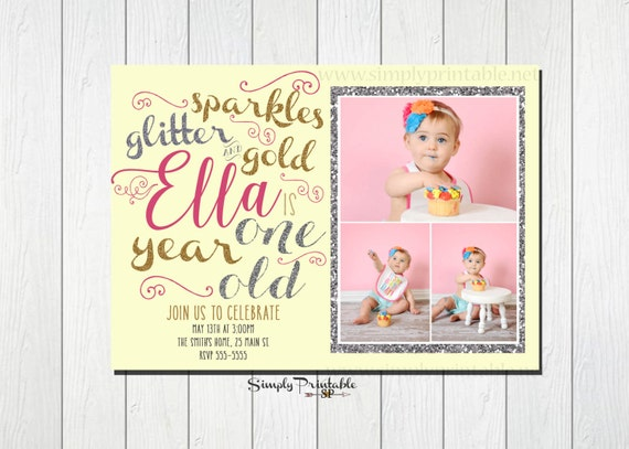 1st Birthday Invitation, Yellow Pink Gold Silver, Sparkles Glitter Gold Invitations, First Birthday for Girls