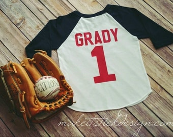First Birthday Shirt Baseball Outfit Jersey Raglan T-Shirt