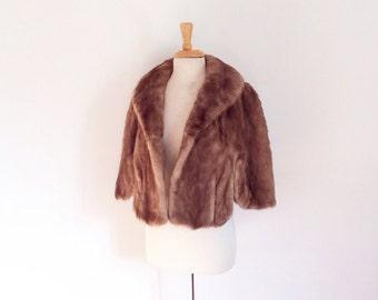 1950s short genuie mink real fur stole