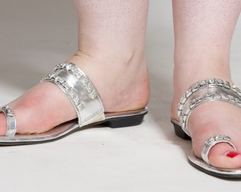 Vintage 1960s Silver Rhinestone Sandals - San Dales Flat Shoes - Bridal Fashions Size 7
