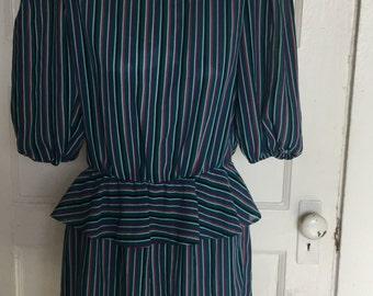 80's sheer striped dress