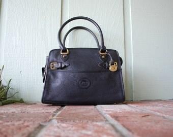 Vintage Dooney and Bourke Pebbled Leather Black Top Handle Bag Purse Handbag Zip Clutch Tote Boho Hobo Bag Spring High Fashion Moto USA