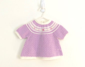 70s baby girls pointelle knit crochet embroidered dress