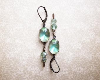 Vintage Green Rhinestone Earrings / Vintage Assemblage Earrings / Summer Green Glow