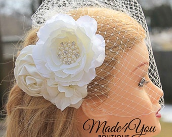 Ivory Chic Birdcage Veil- Wedding Headpiece - Bridal Veil-White Available Also