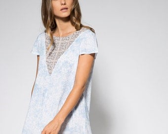 Light blue dress Loose short dress Casual tunic dress Blue midi dress bohemian dress Oversize dress loose fit dress