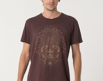 Screen Printed T shirt, Brown Shirt, Psychedelic Clothing, Men T-shirt, Gift For Him, Psy Trance Goa, Festival Fashion
