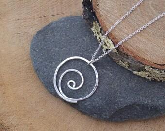 Silver Spiral Necklace, Argentium Pendant