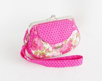 Lovely Pink Roeses Clutch Purse, Coin Purse, Metal Frame Purse