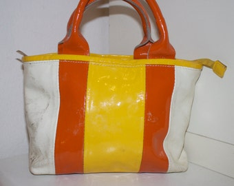 60s Mod Small Leather Purse in Orange, White, Yelow