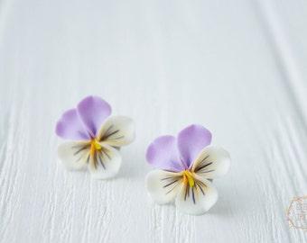 Purple White Pansies Kiss-me-quick Stud Earrings Wholesale Small Hypoallergenic Studs Women Accessory Handmade Wedding Bridal Birthday Gift