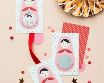 Scratch Off Cards - Baby Shower Game - Russian Doll (24 Cards)