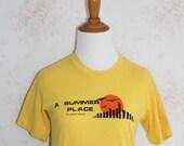 Vintage 70s T Shirt, Thin Soft Tee, Beach, Summer, New Jersey, Tourist, Souvenir, Yellow, Graphic