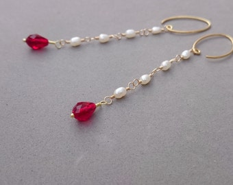 Long Freshwater Pearl Earrings - Red Swarovski Crystal and Pearl Earrings with Gold Fill