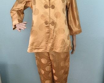 1960s Gold Silk Chinese Pajamas