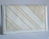 White Vintage 80s Leather Varon Clutch Purse Envelope Purse