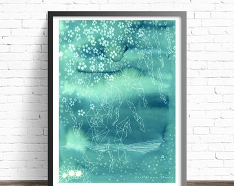 Modern painting. Abstract landscape print. Modern abstract art. Green wall art. Modern art print. Abstract Art Prints. Modern wall art
