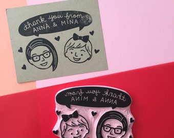 Hand Carved Couple/Family Speech Bubble Rubber Stamp for Cards and Paper Goods