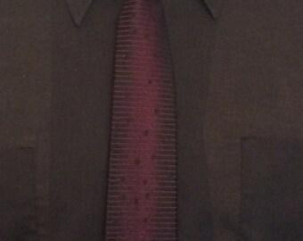 Vintage MENS Saks Fifth Avenue black & red skinny tie, circa 1950s-60s