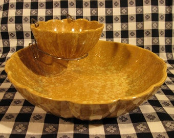 Mid-century U.S. Pottery Chip and Dip Set