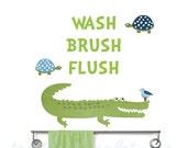 Bathroom Rules Reusable Fabric Decals - Gator Bath Wall Stickers - Gender Neutral Bath Decor - Alligator Bathroom Decals - Brush Flush Wash