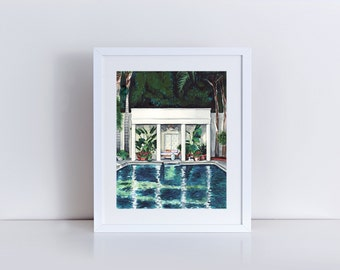 Pool House Art California Painting Water Palm Trees Monstera Leaves Palm Springs Malibu California Summer Swimming Pool Good Vibes Only
