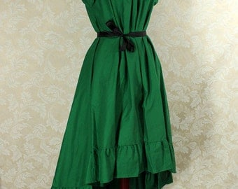 """Cap Sleeved Ragamuffin Dress in Kelly Green Cotton -- Size S, Fits Bust 33""""-36"""" -- Ready to Ship"""