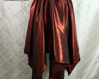 """Steampunk Fairy Cranberry Iridescent Taffeta Pointed Petal Skirt -- 4 Points, 33.5"""" Point Length -- Fits up to 40"""" Waist, Ready to Ship!"""