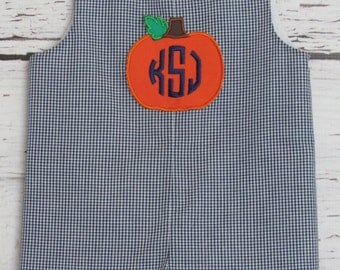 Boys Halloween Monogram Pumpkin Longall Shortall Jon Jon Halloween Romper Navy Check Applique Fall Romper Thanksgiving