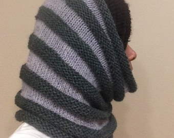 Green and Grey Cowl Scarf