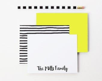 Personalized Stationary Custom Family Stationery Family Thank You Cards Couples Stationary Black and White Stripe Note Cards Gifts for Mom