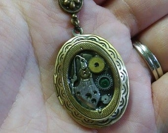 Hand Made Steampunk Watch Parts Locket FLAT RATE SHIPPING