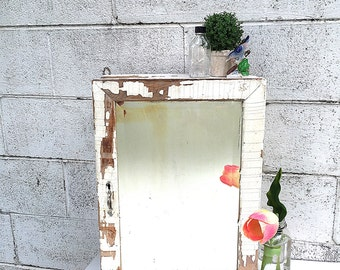 MEDICINE CABINET | Vintage Wood Bathroom Wall Cabinet | Primitive Medicine Cupboard with Mirror | Industrial Storage Cabinet w/Chipped Paint