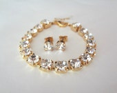 Gold crystal bracelet and earring SET ~ Gold ~ Swarovski ~ Brides jewelry set ~ Tennis bracelet ~ Stud earrings - Bridesmaids ~ Gift