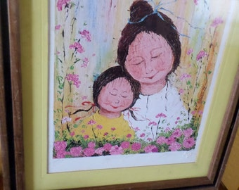 "Mildred Barrett, ""AFFECTION""/SIGNED/LITHO/Numbered/Ready to Hang/Wood Fram e/Mother Daughter Pink Yellow Flowers/Artist Proof"