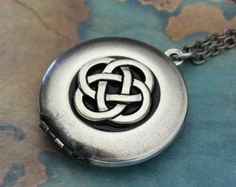 Silver Celtic Knot Locket Necklace, Celtic Necklace, Celtic Jewelry, Wedding Gift, Birthday Gift, Best Friend Gift, Irish Jewelry