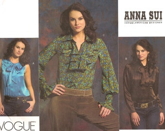Anna Sui Vogue American Designers Fitted Front Tuck Blouse Womens Size 16 18 20 Uncut Sewing Pattern
