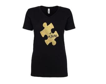 Puzzle Autism Awareness LOVE Women's Tank Shirt - Gold Glitter Black or White - V-Neck