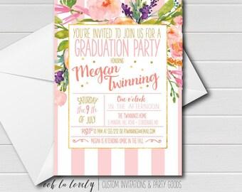 Graduation Party Invitation, Floral Graduation Invitation, printable - DIY, Pink, Stripes, Modern