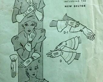 Vintage 1920s 30s Butterick Misses' Glove Pattern 5225 Size 7