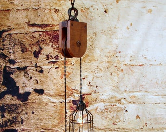 Lighting - Industrial Lighting - Pendant Lighting - Ceiling Lighting - Upcycled Vintage Wooden Pulley