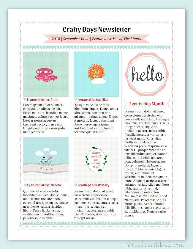 cotton candy newsletter layout 3 newsletter template in pdf. Black Bedroom Furniture Sets. Home Design Ideas