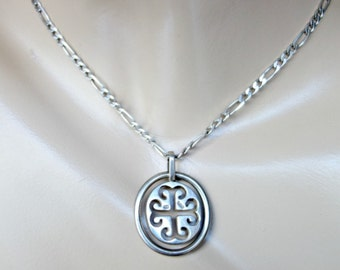 Vintage Heavy Sterling Silver Pendant Necklace, Cross Necklace, Jerusalem Cross, Silver Crusaders Cross, Heavy Sterling Silver Chain