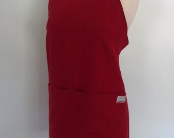 Red Linen Apron with Pockets, Japanese Garden Apron, Artist Apron, Flax Apron, Crimson Linen, Red Apron, Pinafore, Short or Long Length