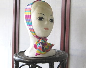 Rainbow Stripe Silk Tie/Scarf~Lavender/Melon/Yellow/Aqua Stripe Necktie, Neck Bow~'80s Vintage Rainbow Scarf/Head Tie; Free Ship/U.S.